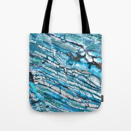 Blue Marble with Black Tote Bag