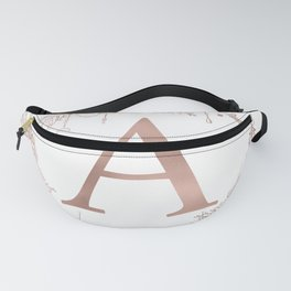 Letter A Rose Gold Pink Initial Monogram Fanny Pack
