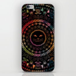 Rainbow Kitty Cat Mandala iPhone Skin