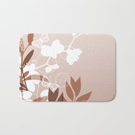 Botanicals and Butterfly Graphic Design Sherwin Williams Cavern Clay SW7701 Bath Mat