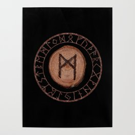 Mannaz - Wooden Celtic Rune of self, individuals, universe, family, loved ones, friends, devoted Poster