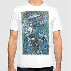 exiled archangels MEDIUM White Mens Fitted Tee