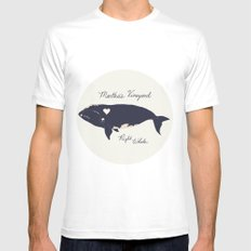 Right whale MEDIUM White Mens Fitted Tee