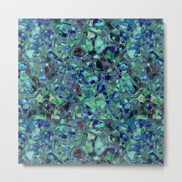 Blue And Green Stained Glas Metal Print