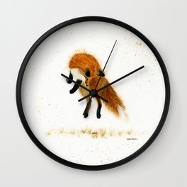 Fox Hop - animal watercolor painting Wall Clock