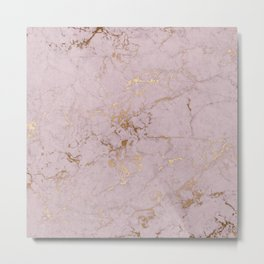 Chic mauve pink gold elegant stylish marble Metal Print