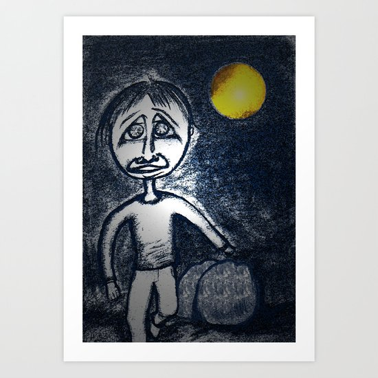 Fleeing Under Cover of Night Art Print