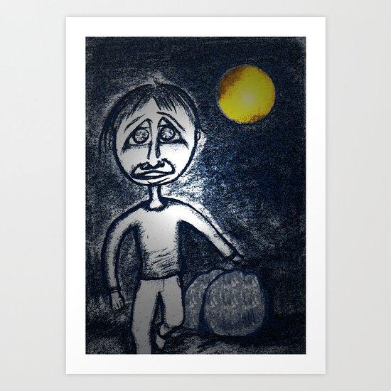 Fleeing Under Cover of Night Art Print