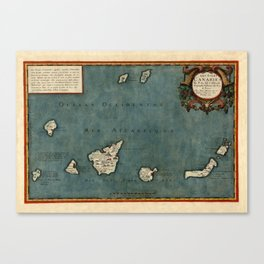 Map Of Canary Islands 1563 Canvas Print