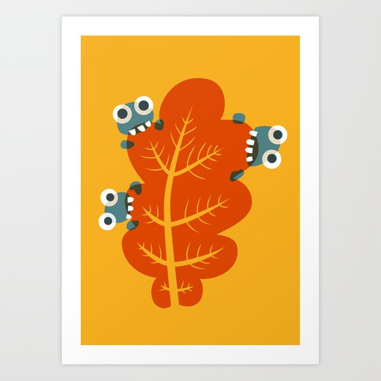 Cute Bugs Eat Autumn Leaf Art Print