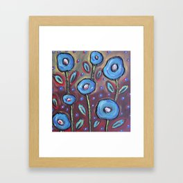 Blue Flowers with Red Framed Art Print