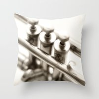 trumpet Throw Pillows featuring  trumpet by laika in cosmos