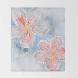 Modern hand painted coral blue watercolor flowers Throw Blanket