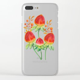 Hand painted orange red green watercolor fall floral Clear iPhone Case