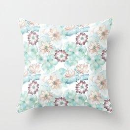 Lotus Flowers Sitting Softly Throw Pillow