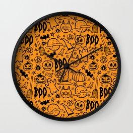Spooky Pattern - Orange Wall Clock