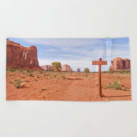 Road closed desert Beach Towel