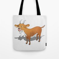 goat Tote Bags featuring Goat by mailboxdisco