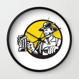 Bavarian Beer Drinker Mug Circle Woodcut Wall Clock
