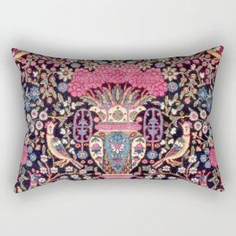 Tehran Antique Persian Floral Vase Rug Print Rectangular Pillow