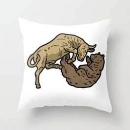 STOCK EXCHANGE Bull Bear Broker Shares Gift Throw Pillow