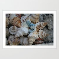 pixies Art Prints featuring Sea pixies by Tracey Burgun
