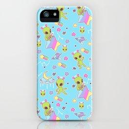 Fairy Kei Aliens on Blue iPhone Case
