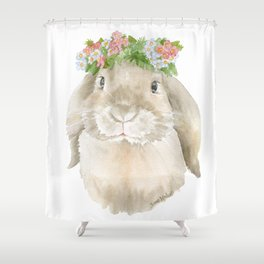 Lop Rabbit Floral Wreath Watercolor Painting Shower Curtain