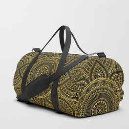 Gold Mandala Black ink Duffle Bag