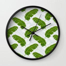 Banana Leaves_ Bg White Wall Clock