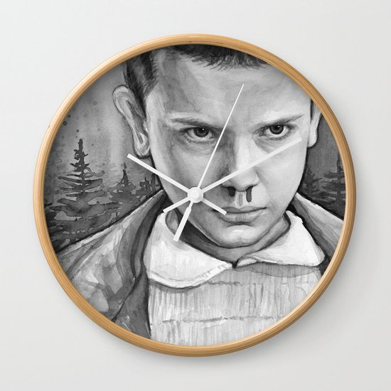 Stranger Things Eleven Watercolor Painting Black and White Wall Clock