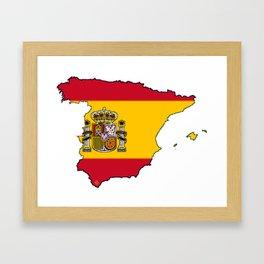 Spain Map with Spanish Flag Framed Art Print