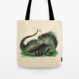 """""""Pinfeathers"""" by Amber Marine ~ T-Rex Dinosaur Watercolor illustration, (Copyright 2016) Tote Bag"""
