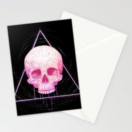 Skull in triangle on black Stationery Cards