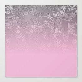 Elegant blush pink silver glitter gradient floral Canvas Print