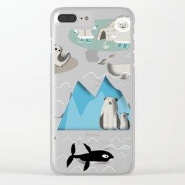 Arctic animals grey Clear iPhone Case