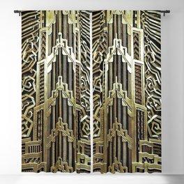Metallic art nouveau design, vintage,elegant,chic,art nouveau, belle epoque,beautiful,gold,metallic, Blackout Curtain