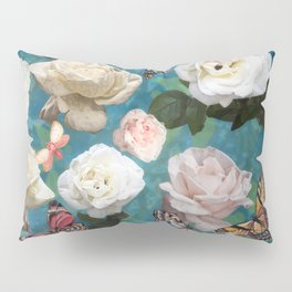 White Roses and Butterflies Pillow Sham