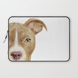 Pitbull light brown Dog illustration original painting print Laptop Sleeve