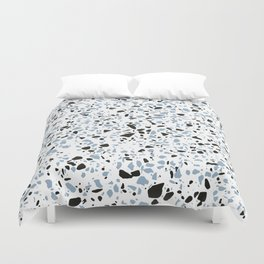 'Speckle Party' Blue Black and White Speckle Terrazzo Pattern Duvet Cover