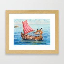 Sailing Fox Framed Art Print