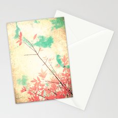 Textured Fall (Vintge Fall pink - orange leafs on textured clouds and blue sky) Stationery Cards