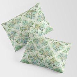 Jade Enamel Art Deco Fans Pillow Sham