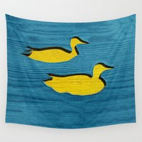 ducks Wall Tapestries featuring Ducks by Brontosaurus