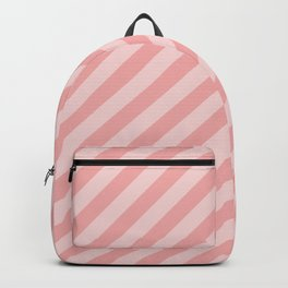 Classic Blush Pink Glossy Candy Cane Stripes Backpack