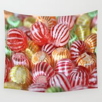 striped Wall Tapestries featuring Striped Candy  by taiche