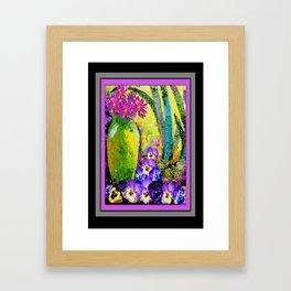 Chartreuse-Violet art Vase Pansies Floral Painting Framed Art Print