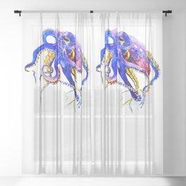 Octopus, Blue, Gold,Purple Sheer Curtain