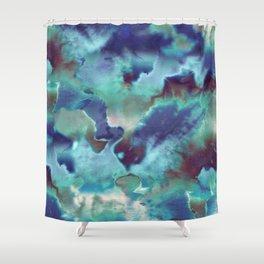 Aqua Blue TieDye Camo Shower Curtain