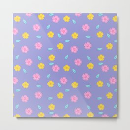 Lavender pink yellow teal modern flowers pattern Metal Print